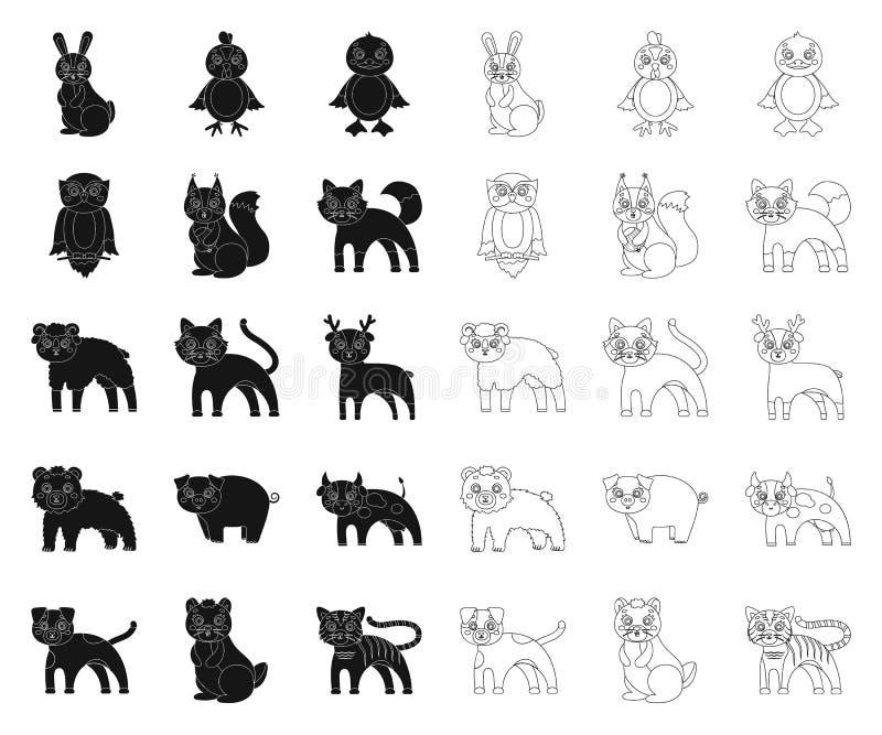 Animaux de jouet noirs, ic?nes d'ensemble dans la collection r?gl?e pour la conception L'oiseau, le pr?dateur et l'herbivore diri illustration de vecteur