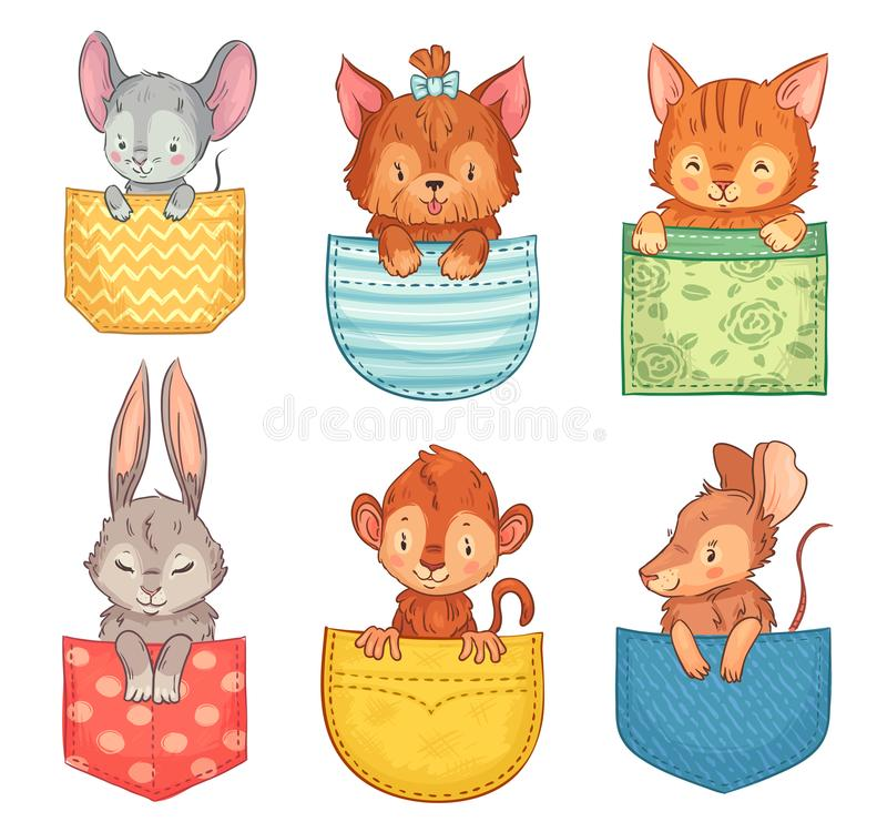 Animaux de poche de bande dessinée Chien mignon, chat drôle et lapin Animal de singe, de souris et de rat dans l'ensemble d'illus illustration libre de droits