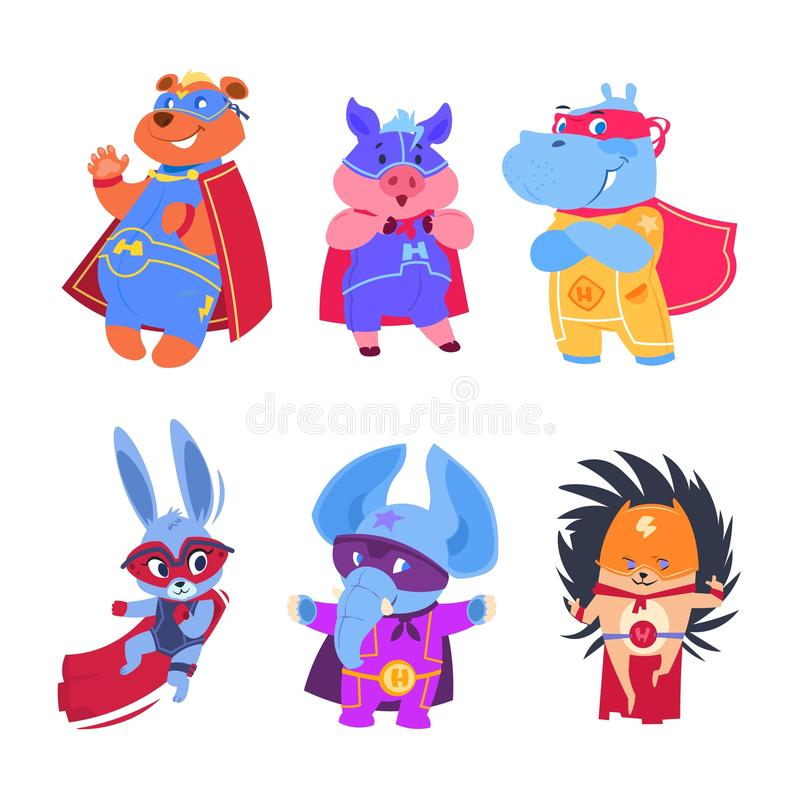 Animaux de super héros Caractères de vecteur de super héros de bébé réglés illustration de vecteur