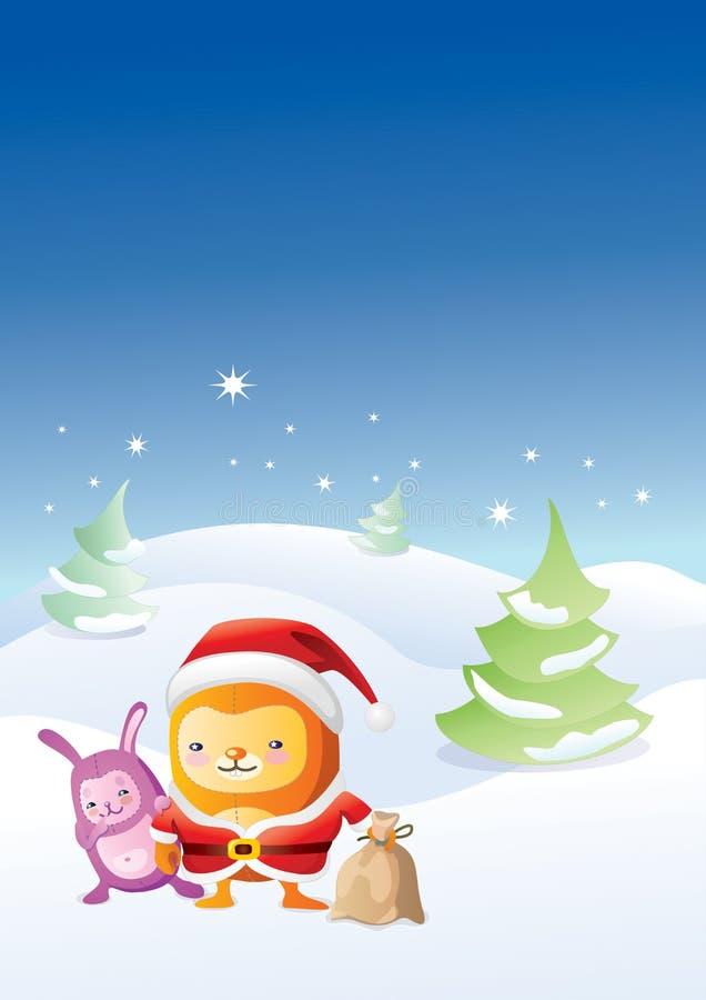 Animaux de type japonais dans la nuit de Noël illustration libre de droits