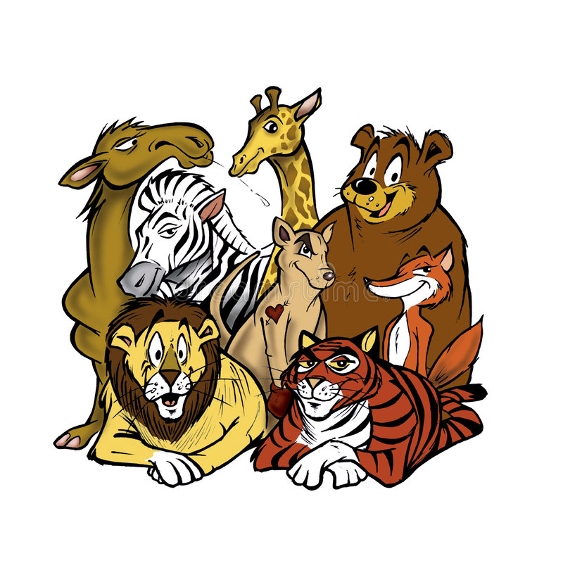 Animaux de zoo illustration stock