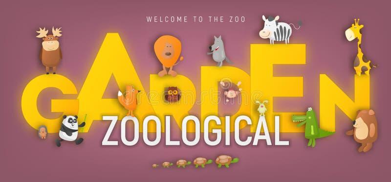 Animaux de zoo dans l'annonce de jardin zoologique illustration de vecteur