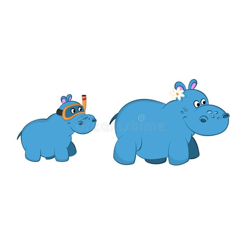 Animaux de zoo Famille d'hippopotame dans le style de bande dessinée Caractères mignons d'isolement illustration libre de droits