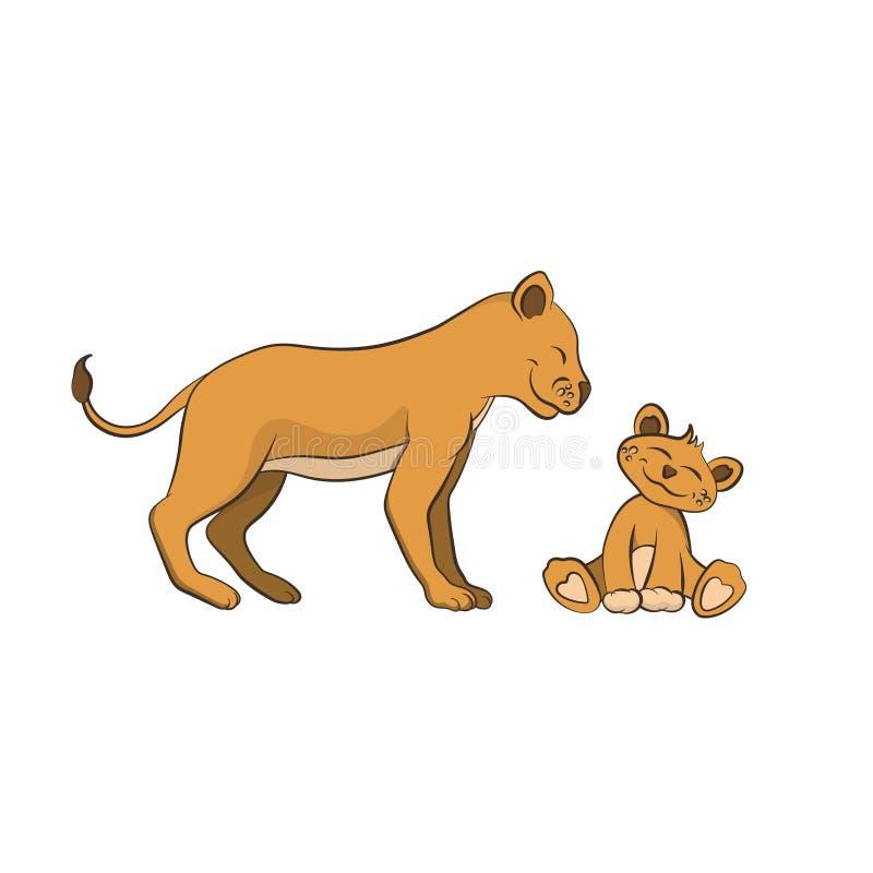 Animaux de zoo La famille de lion dans le style de bande dessinée Caractère mignon d'isolement illustration de vecteur