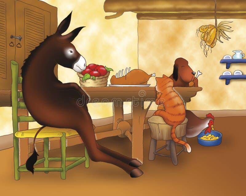 Animaux drôles dînant illustration libre de droits