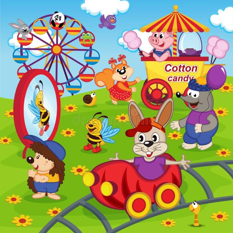 Animaux en parc d'attractions illustration de vecteur