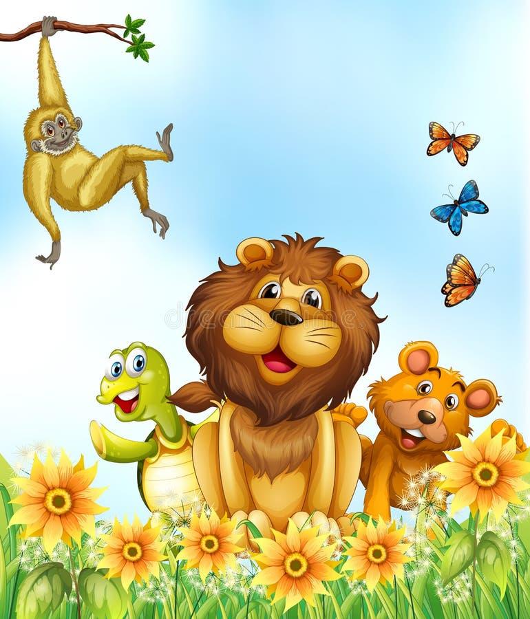 Animaux et fleurs illustration libre de droits