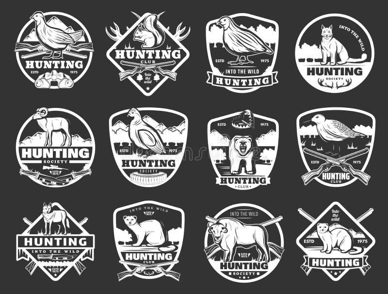 Animaux et insignes sauvages de club de chasse de volaille illustration libre de droits