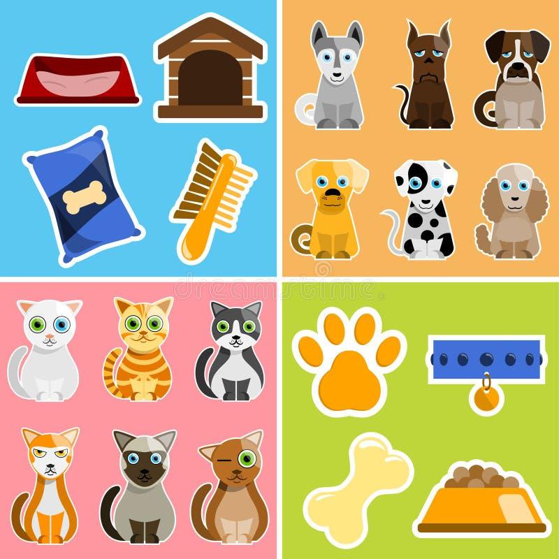 Animaux et objets d'animal familier illustration libre de droits