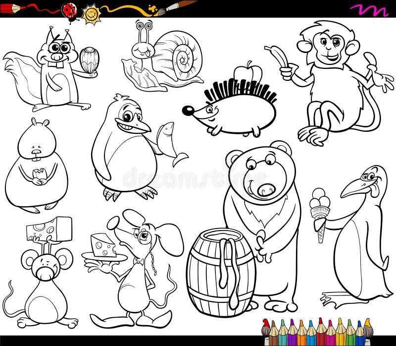 Animaux et page de colorant alimentaire illustration stock