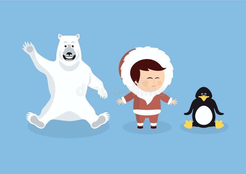 Animaux et personnes polaires de bande dessinée illustration de vecteur