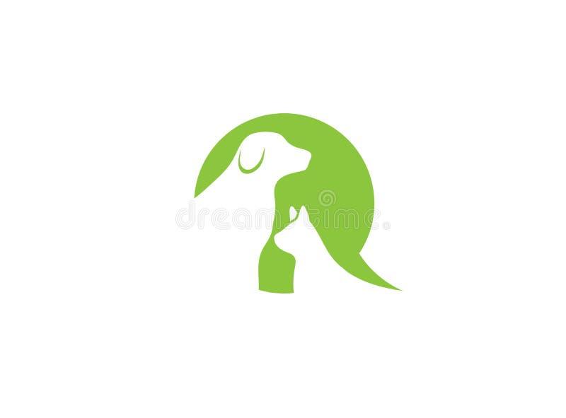 Animaux familiers, chien et chat de soin de coeur dans un symbil de causerie pour la conception de logo illustration libre de droits