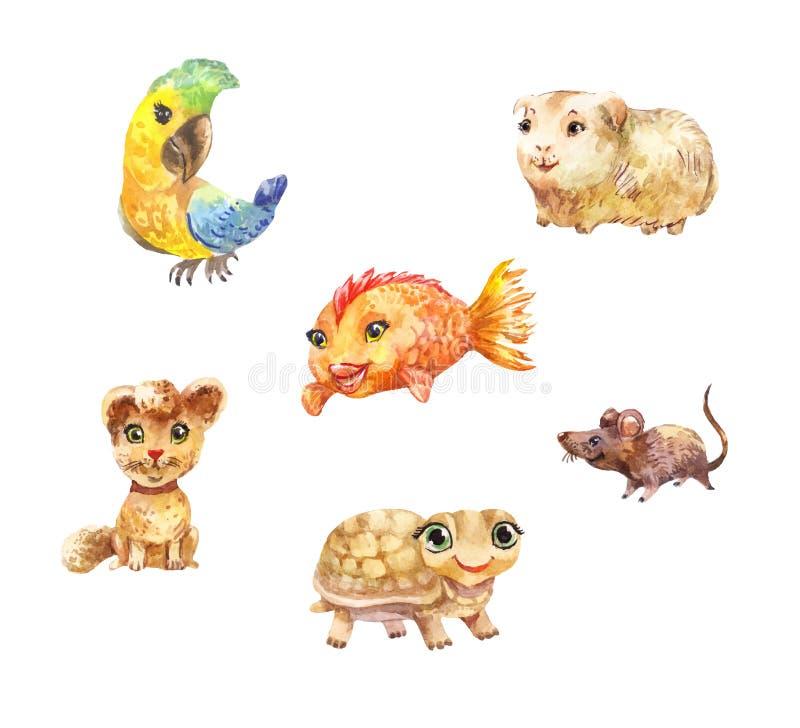 Animaux familiers d'aquarelle, petites illustrations mignonnes appropriées aux enfants illustration libre de droits