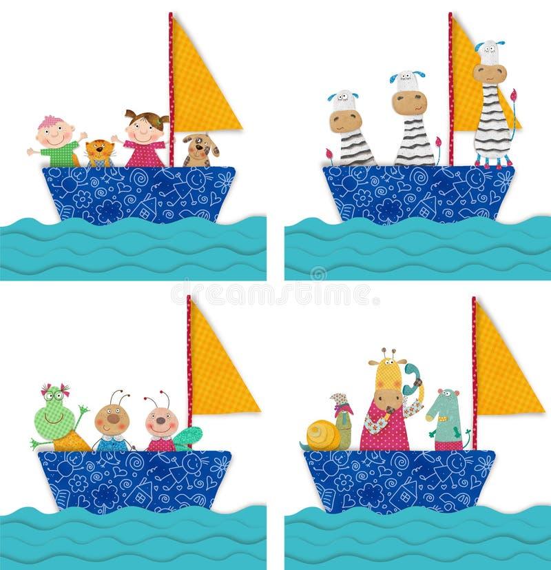 Animaux familiers et enfants voyageant en bateau illustration de vecteur