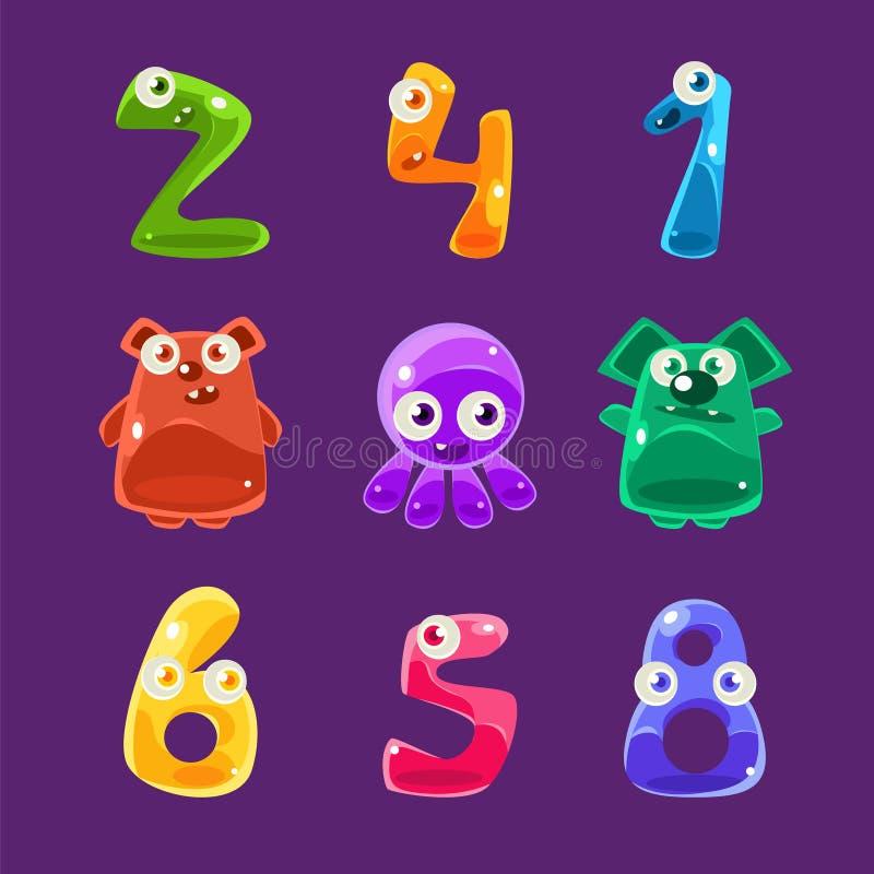 Animaux formés par nombres et toute autre Jelly Creatures Set illustration libre de droits