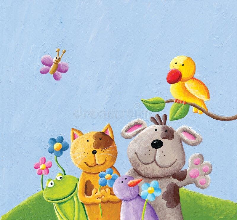 Animaux heureux ; chat, chien grenouille, oiseau et papillon illustration stock