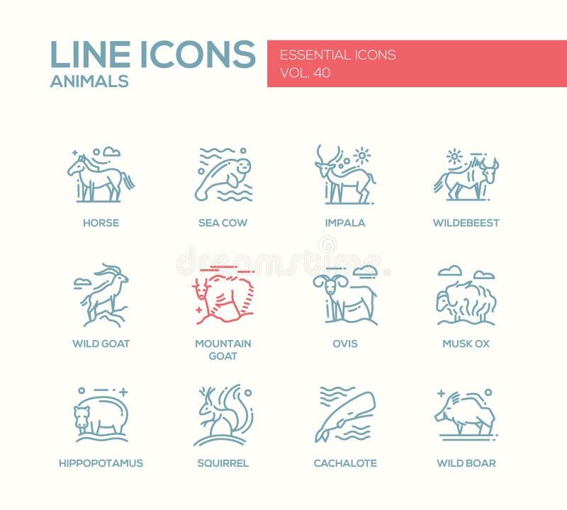 Animaux - ligne icônes de conception réglées illustration libre de droits