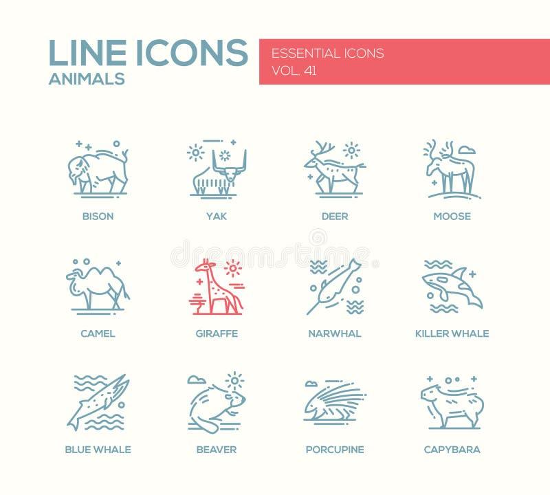 Animaux - ligne icônes de conception réglées illustration de vecteur