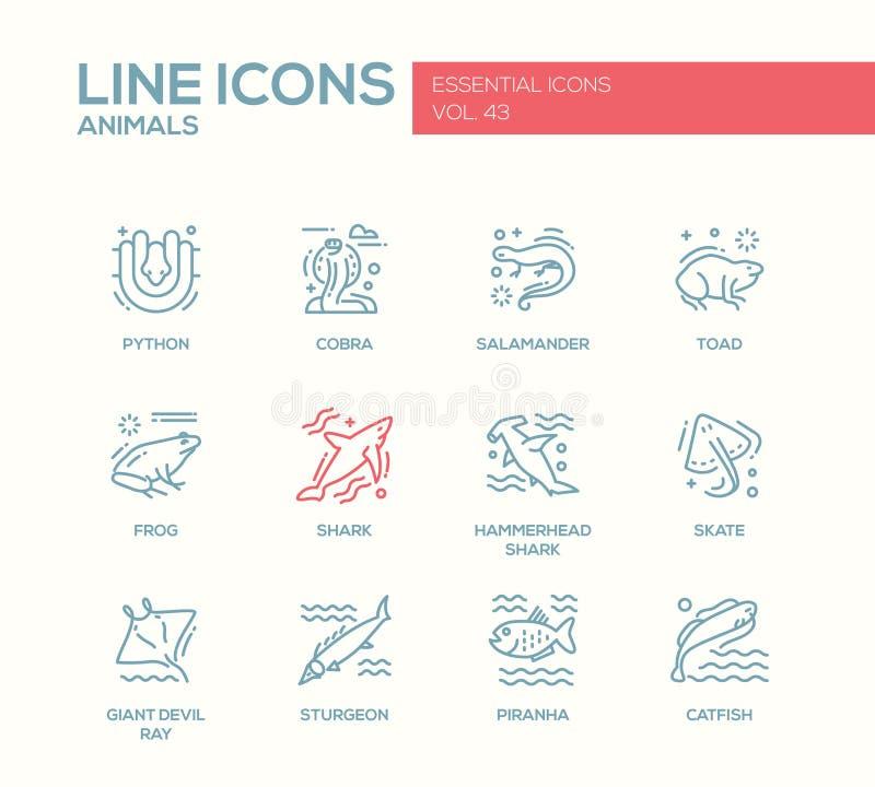 Animaux - ligne icônes de conception réglées illustration stock