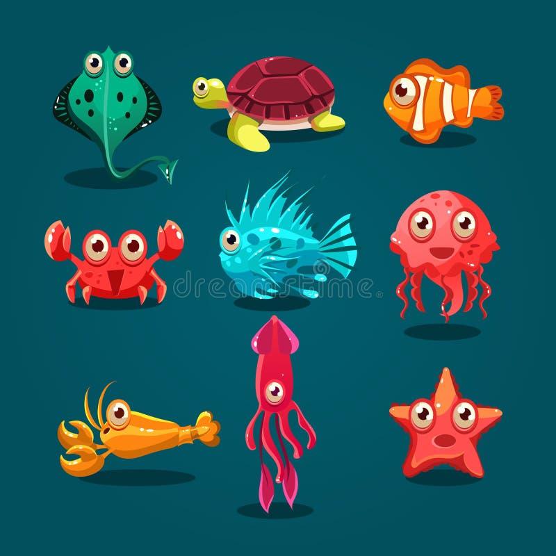 Animaux mignons de bande dessinée de créatures de vie marine réglés illustration stock