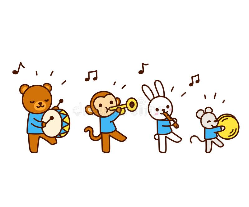 Animaux mignons de bande dessinée jouant la musique illustration stock