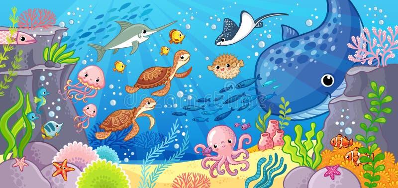 Animaux mignons de bande dessinée sous-marins Illustration de vecteur sur un thème de mer illustration stock