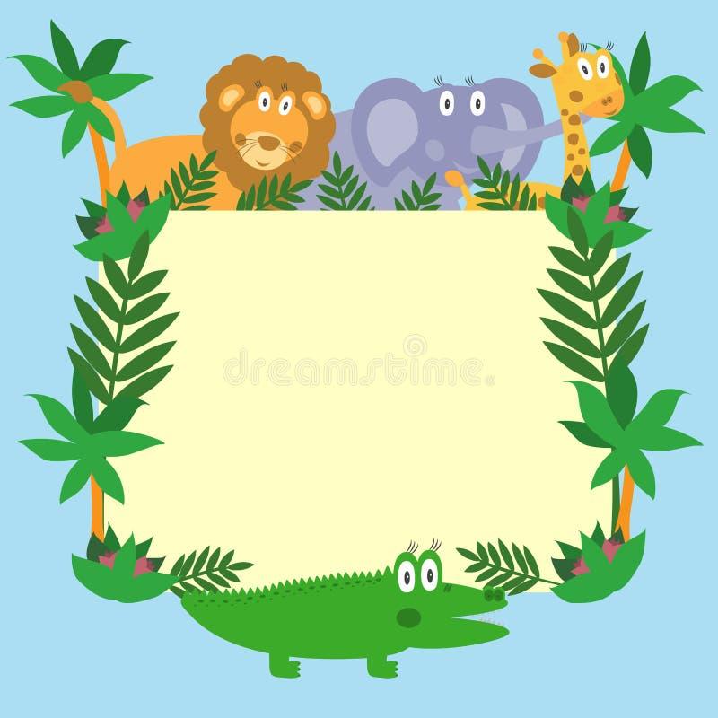 Animaux mignons de dessin animé de safari illustration libre de droits