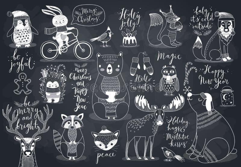 Animaux mignons de forêt réglés - style de tableau illustration libre de droits