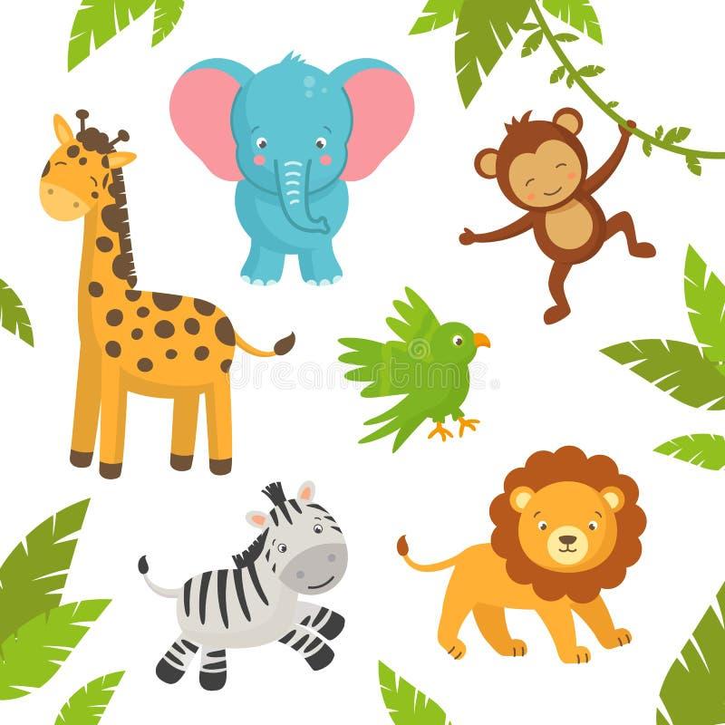 Animaux mignons de jungle illustration stock