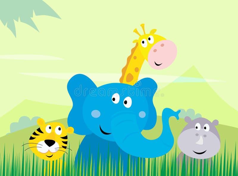 Animaux mignons de jungle de safari - tigre, éléphant, Gira illustration stock