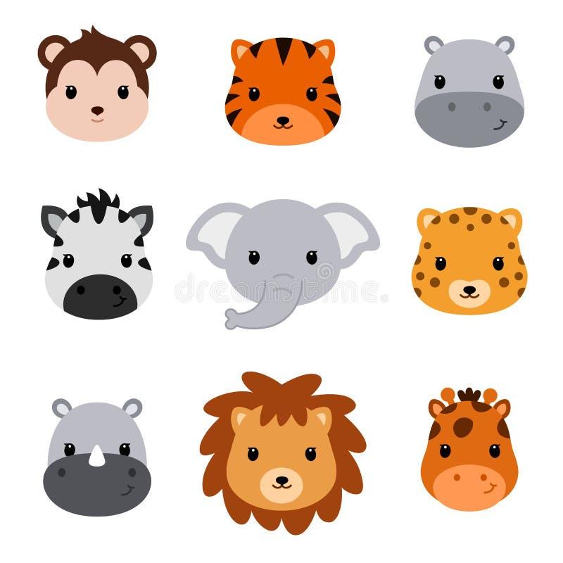 Animaux mignons de safari de fête de naissance Ensemble de 9 têtes animales illustration de vecteur