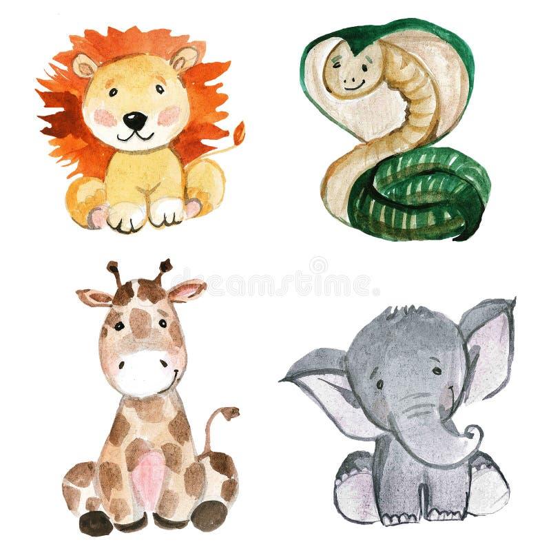 Animaux mignons pour le jardin d'enfants, crèche, enfants habillement, modèle illustration stock