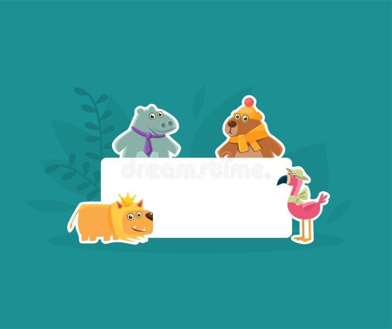 Animaux mignons tenant la bannière vide, le Hhippopotamus, flamant, le Bbear et le Lion Stickers avec l'enseigne vide blanche illustration de vecteur