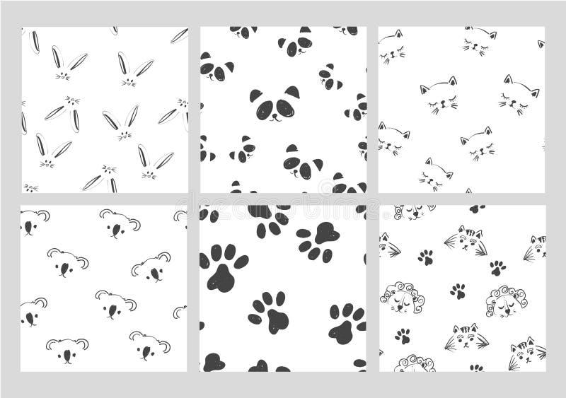Animaux noirs et blancs graphiques de schéma dirigent la collection sans couture de modèle sur la copie blanche et mignonne de mo illustration stock