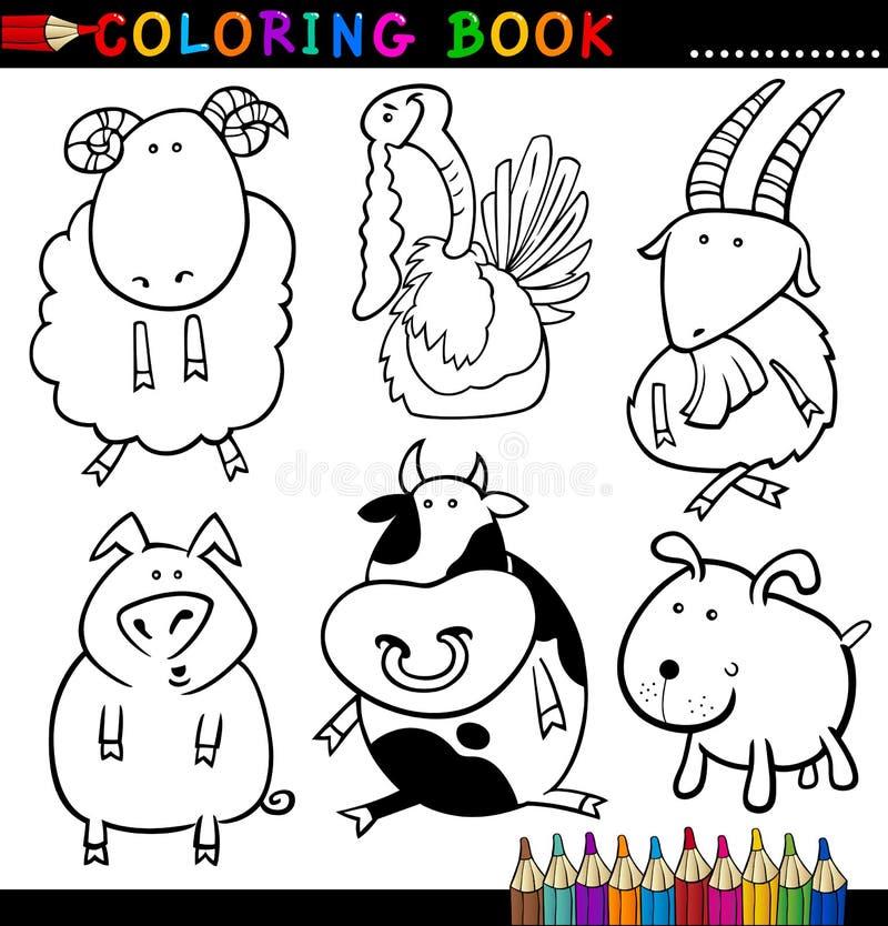 Animaux pour le livre ou la page de coloration illustration de vecteur