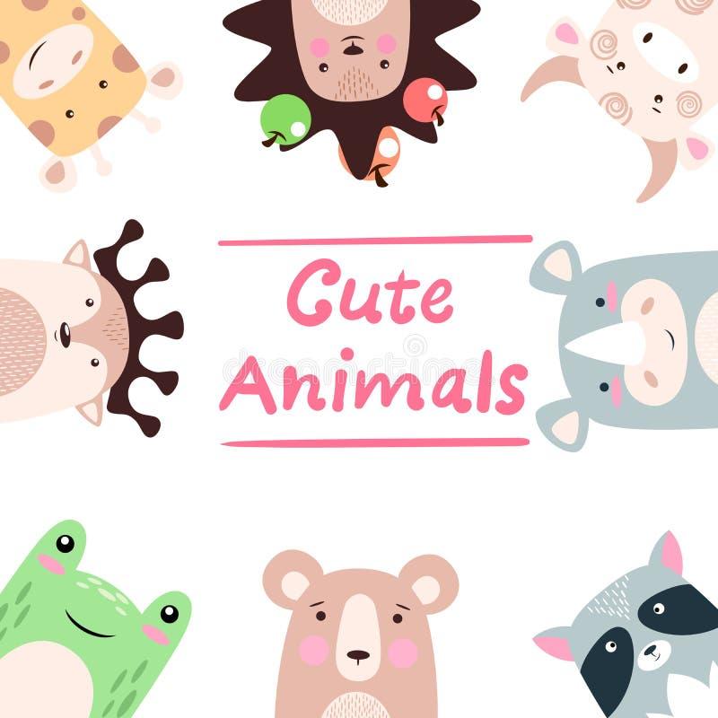 Animaux réglés - girafe, hérisson, vache, taureau, rhinocéros, raton laveur, ours, grenouille, cerf commun illustration de vecteur
