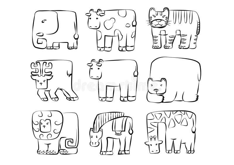 Animaux réglés symbole arrondi mignon d'animal sauvage de rectangle illustration stock