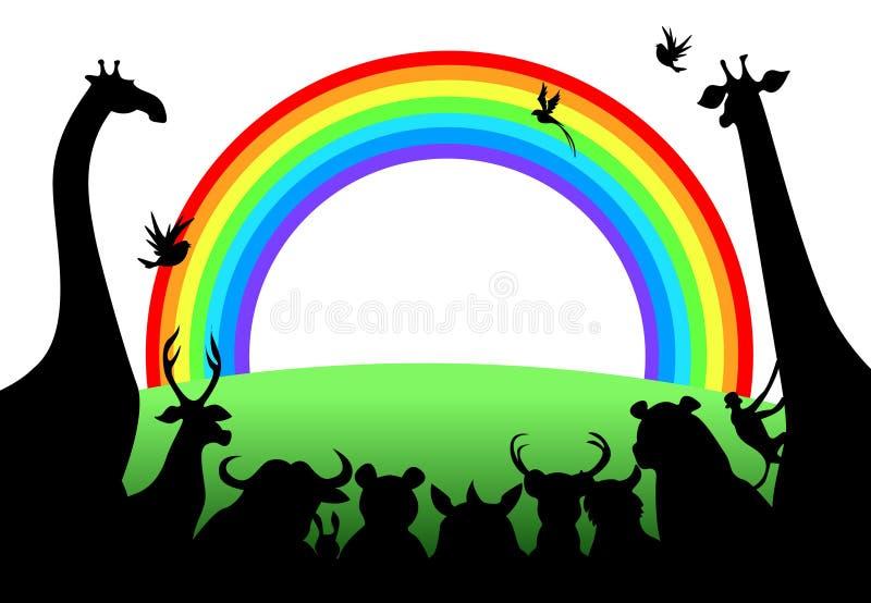 Animaux regardant l'arc-en-ciel illustration libre de droits