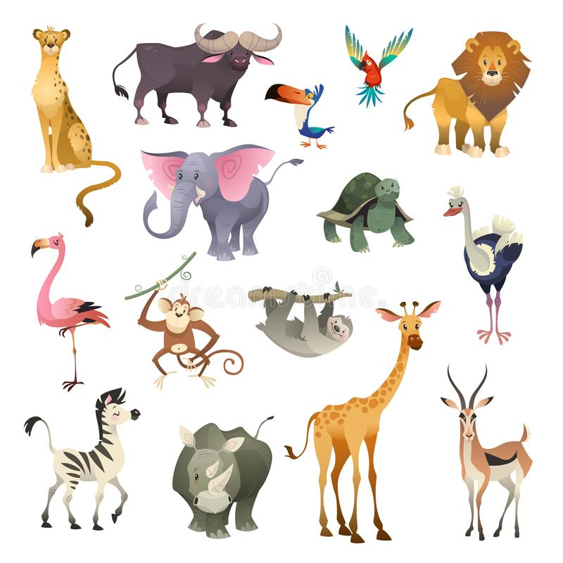 Animaux sauvages de jungle Mammifères marins d'oiseau de forêt de la savane de safari de nature de forêt exotique tropicale anima illustration de vecteur