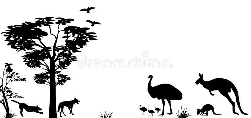Animaux sauvages de kangourou, d'émeu et de dingos d'Australie illustration libre de droits