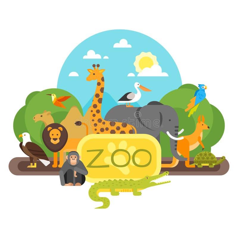 Animaux se tenant à l'entrée de zoo illustration de vecteur
