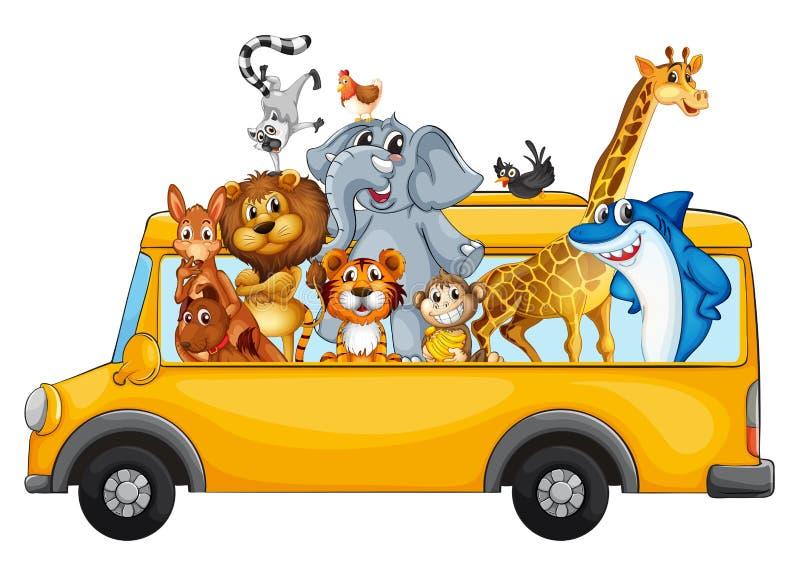 Animaux sur l'autobus scolaire illustration stock