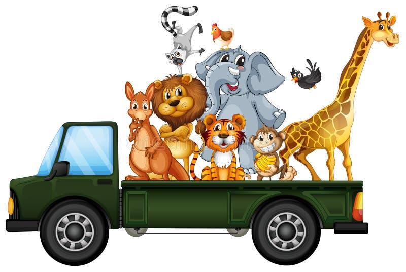 Animaux sur un camion illustration de vecteur