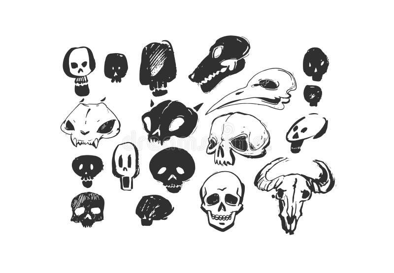 Animaux texturisés à main levée artistiques d'éléments de conception de Halloween d'encre d'abrégé sur tiré par la main vecteur e illustration libre de droits