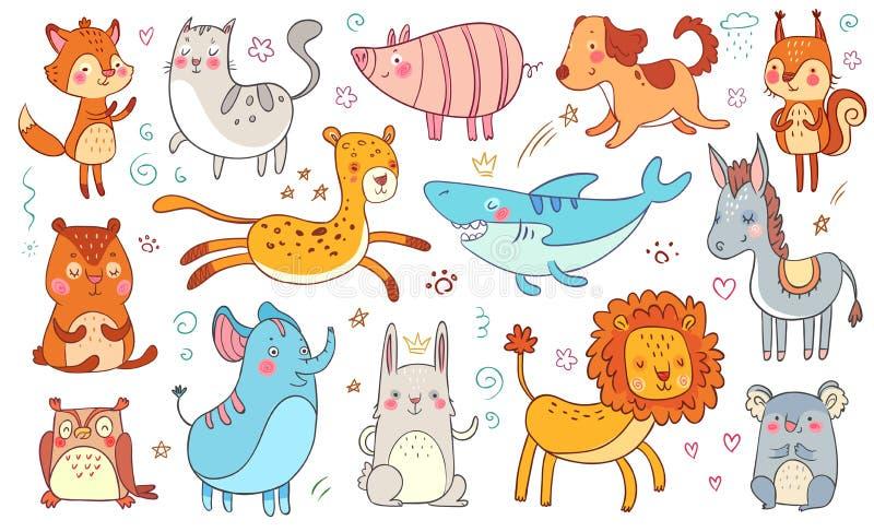 Animaux tirés par la main mignons Chat drôle animal de griffonnage d'amitié, renard adorable décoratif et vecteur d'isolement par illustration libre de droits