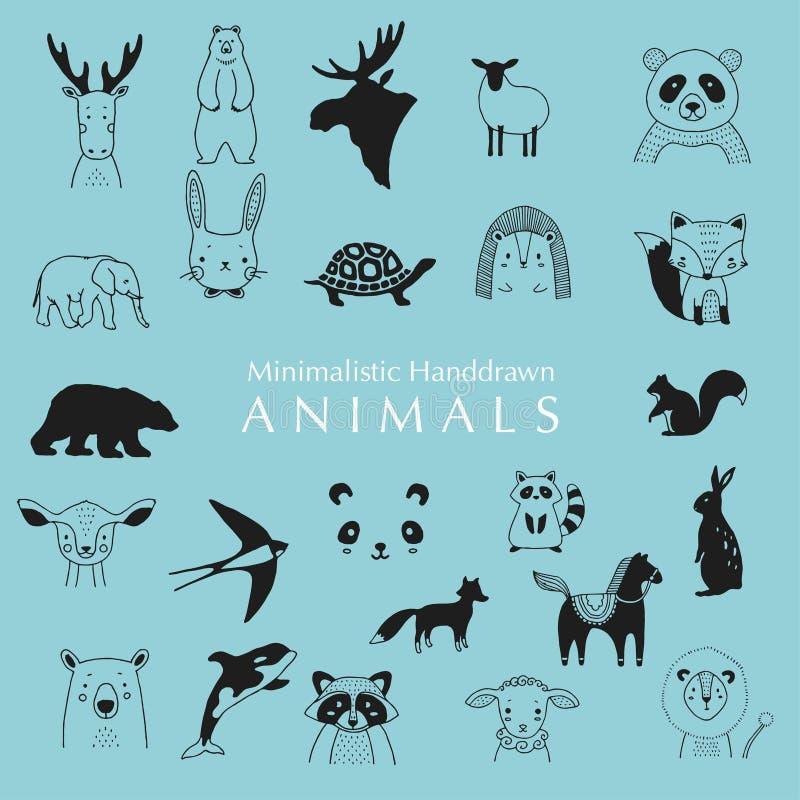 Animaux tir?s par la main Animaux tirés par la main de Minimalistic illustrations d'animaux image libre de droits