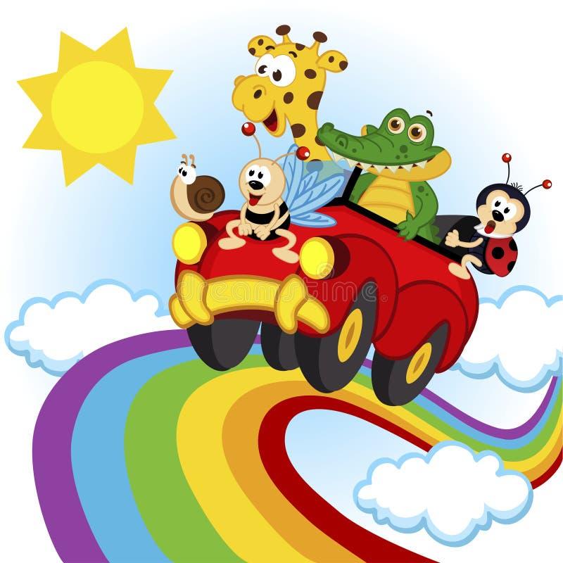 Animaux voyageant en voiture au-dessus de l'arc-en-ciel illustration libre de droits