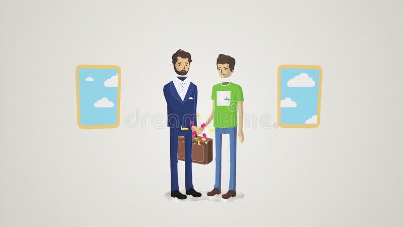 Animazione del fumetto degli uomini che stringono le mani nell'appartamento davanti alle finestre, facente un concetto di affare  illustrazione di stock