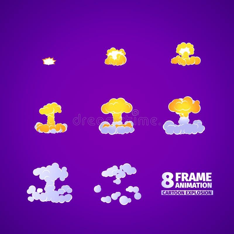 Animazione del fumetto di esplosione nucleare illustrazione vettoriale