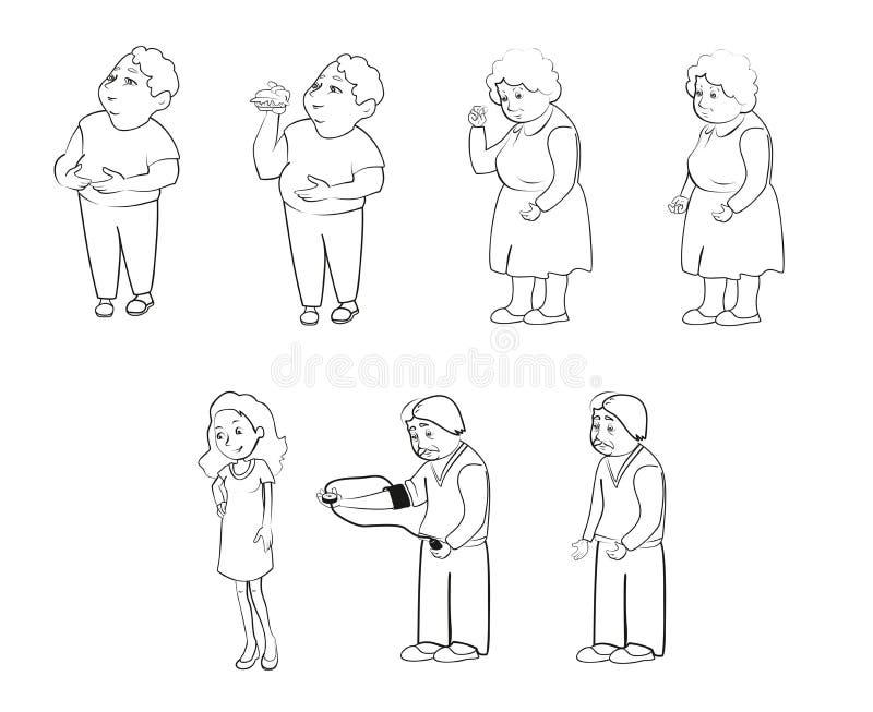 Animazione della gente, famiglia, nonna, nonno, zia, zio, mamma, papà immagini stock libere da diritti